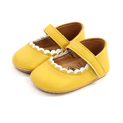 A68 Bambina Scarpe-Bambina Scarpe Primi Passi Antiscivolo Principessa Neonata con Suola Morbida Antiscivolo (0-6 mesi, giallo)