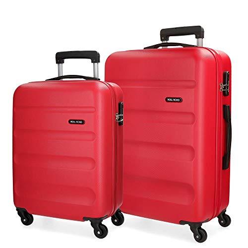 Roll Road Flex Juego de maletas Rojo 55/65 cms Rígida ABS Cierre combinación 91L 4 Ruedas Equipaje de Mano