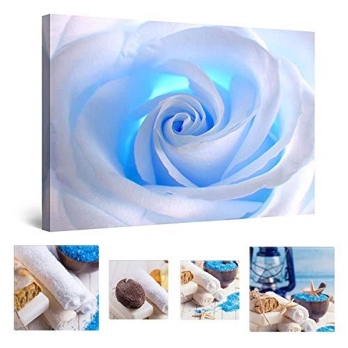 Eco Light Wall Art Bundle sur Toile Blanc Rose Abstrait Fleur 60 x 90 cm pour décoration intérieure et Charmante de Salle de Bain Spa Collage Lot de 4 encadrée Illustrations.