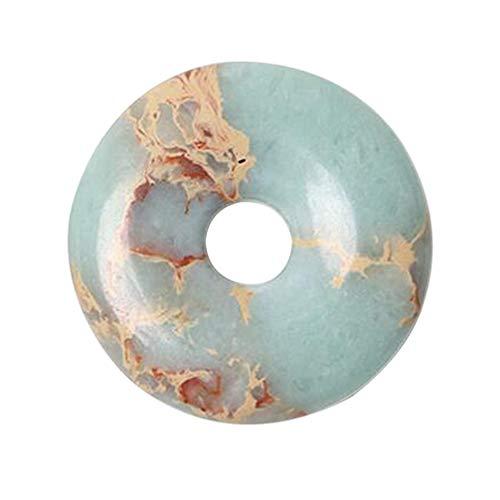 SUPVOX 40mm1pc 40mm colgante de jaspe piedra preciosa donut colgante retro forma de rosquilla colgante de jaspe duradero joyería de jaspe (verde claro)