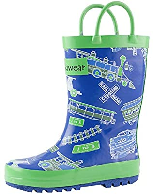 OAKI Kids Rain Boots with Easy-On Handles, Blue & Green Trains, 6 Toddler