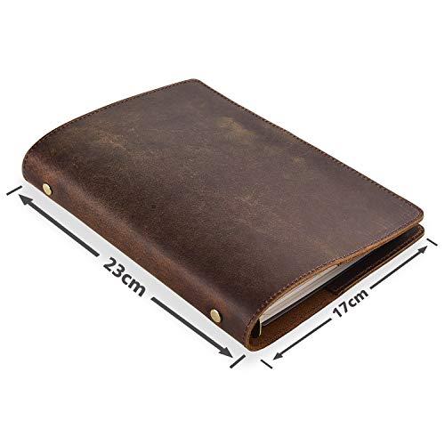 LLG Handgefertigtes Leder Ringbuch a5,Notizbuch mit Lederhülle, 23 x 17 cm, nachfüllbar mit 6-fach Ringbuch. Tagebuch für den Alltag und auf Reisen (braun)