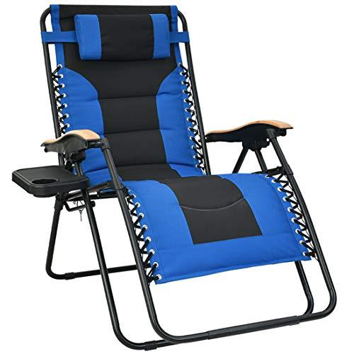 Patio Watcher Oversized Gepolsterter Zero Gravity Lounge-Stuhl Terrasse klappbar verstellbar Liegesessel mit Getränkehalter und abnehmbarem Kissen für Outdoor Hof Veranda 1 Set