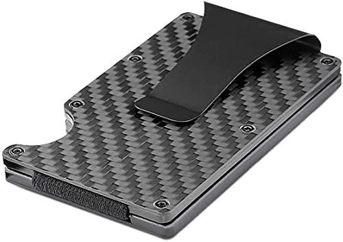 Carbon Fiber Minimalist Slim Card Holder, Metal RFID Blocking Wallet for...