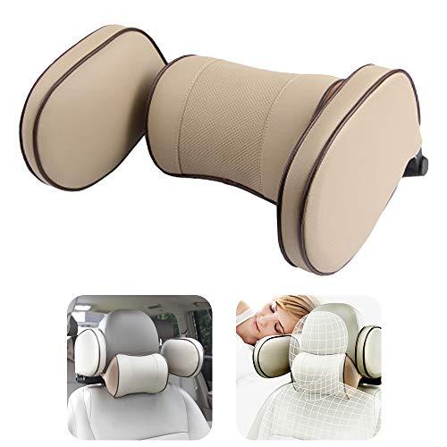 1pcs Auto Kopfstütze Kinder, Nackenkissen Auto, Nackenkissen und Seitenkissen, Klappbare Nackenstütze zum Schlafen im Auto für Erwachsene und Kinder (Beige)