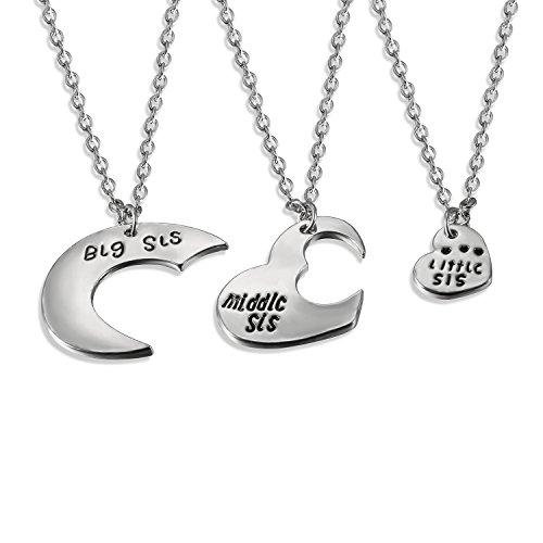 JewelryWe Damen Schmuck Set, 3 Stück Legierung Big Sis Middle Sis Little Sis Love Herz Anhänger Halsketten Ketten Silber Familien Geschenk für Frauen/Mädchen