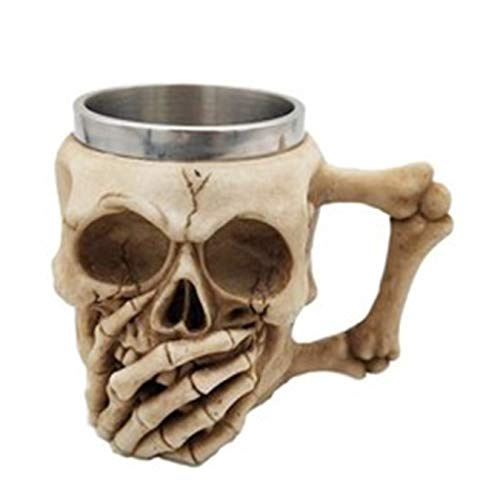 adiasen 1 pieza de calavera cubierta de la mano mango de la boca único 3D calavera cerveza cóctel tazas tazas de café esqueleto taza de leche regalo para hombres y niños