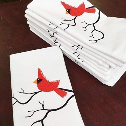 Red Cardinal Napkin 20x20 inch cotton - Single Napkin, Red Bird napkins, Christmas napkins