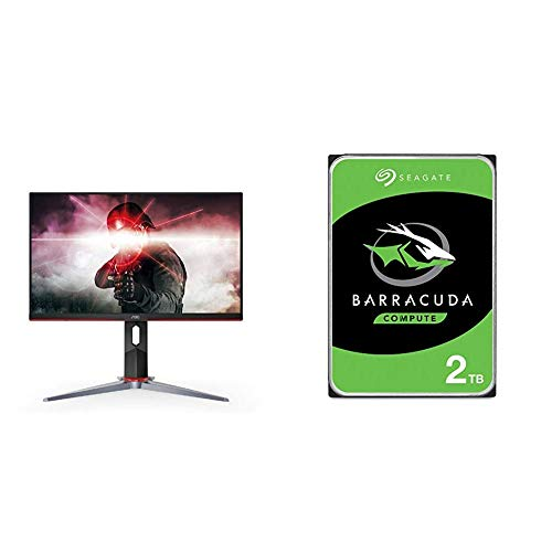 """AOC 27G2 27"""" Frameless Gaming IPS Monitor - Black/Red & Seagate Barracuda 2TB Internal Hard Drive HDD – 3.5 Inch SATA 6Gb/s 7200 RPM 256MB Cache 3.5-Inch – Frustration Free Packaging (ST2000DM008)"""