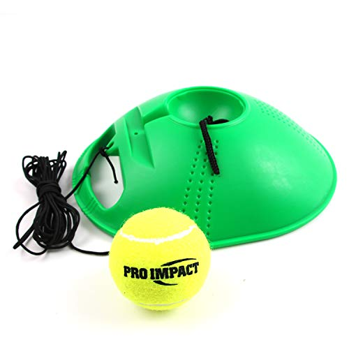 Pro Impact Tennis Trainer Rebounder Ball, Trainer Baseboard with Long Rope, Perfect Solo Tennis Trainers Round and Rectangular (Green Cone)
