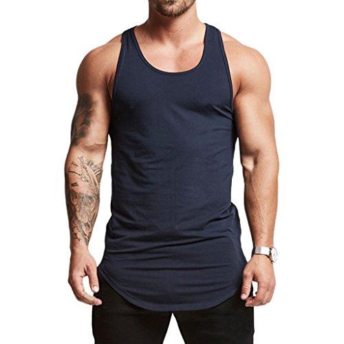 Magiftbox Mens Essential Longline Workout Stringer Cotton Tank Tops Gym Shirts Sports Vest T04_Navy-Blue_US-L