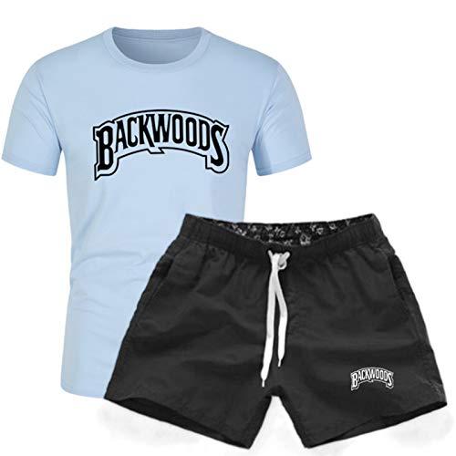 GIRLXV Verano De Los Hombres Backwoods Camiseta De Impresión De Manga Corta Plisada Fitness Fitness Traje Deportivo Pantalones Cortos De Cinco Puntos 3XL