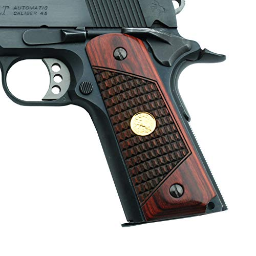 Altamont 1911 Grips - Classic Panel - Full Size 1911 Real Wood Gun Grips w. Ambi Safety fits Most Commander, Standard & Government 1911 Models - Made in USA (CR Rosewood with Gold Medallion
