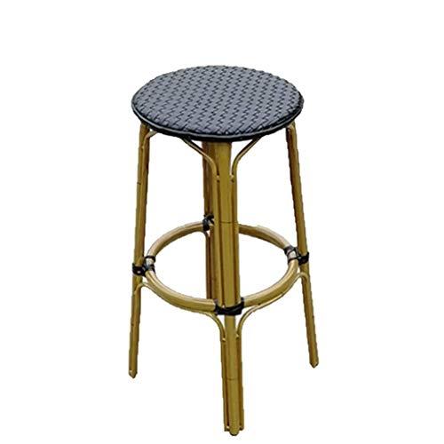 WXXSL Rattansitz Massivholzsitz Polsterstuhl, Kreativer Massivholzstuhl, moderner und einfacher Barhocker, geeignet für Küche, Bar, Salon, Spa