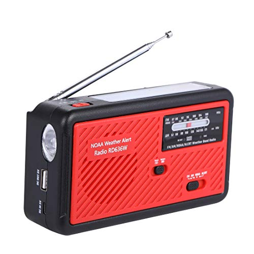 Emergency Radio with Solar and Hand Crank Self Powered, Portable FM/AM NOAA Weather Radio with Alert Battery USB Recharging LED Flashlight Cell Phone Charger (red)