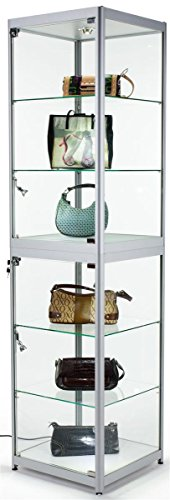 """Display Cabinet for Use at Exhibitions and Trade Shows, Silver Finish, w/Lights, Glass Shelves, Carrying Case – 77-3/4"""" Tall"""