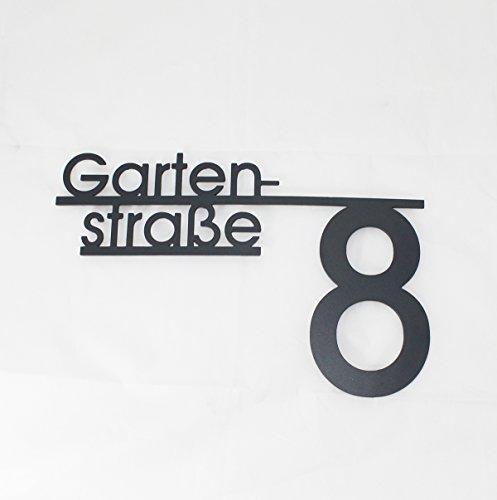 Thorwa Design Hausnummer mit Straßenname oder Familienname/Namensschriftzug (Design 4) Hausnummernschild aus Edelstahl mit Wunschschriftzug/Namen/Schriftzug (60cm x 45cm | RAL 7016 Anthrazit)