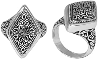 Sterling Silver Beautiful Diamond Shape Ring with Plain Silver SR-5466-S-7