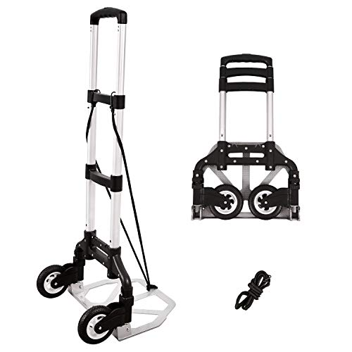 RedSwing Folding Hand Truck and Dolly, Aluminium Luggage Cart Foldable with Bungee Rope and Rubber Wheels, 165lbs Capacity