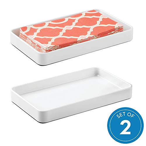 iDesign Countertop Guest Towel Tray Bathroom Vanity Organizer - White Pack of 2