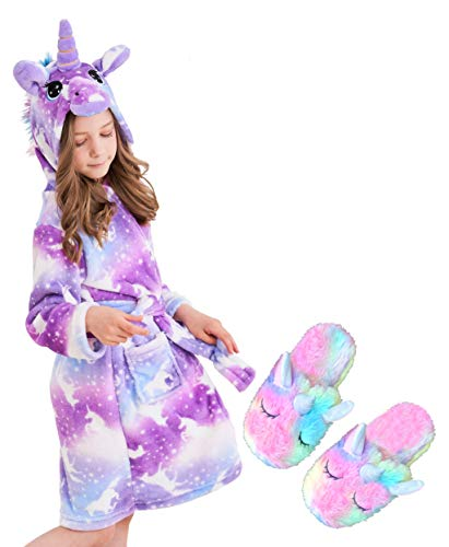 unicorn hooded bathrobe sleepwear matching