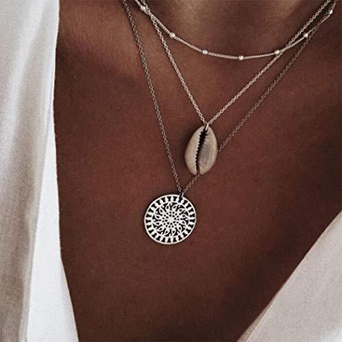 Yean Boho - Collar con colgante en capas de plata de concha de playa, joyería para mujeres y niñas