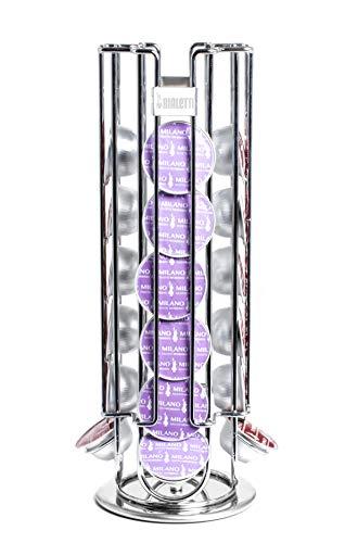 Bialetti Portacapsule Torre in acciaio con base girevole - Contiene fino a 28 Capsule Bialetti