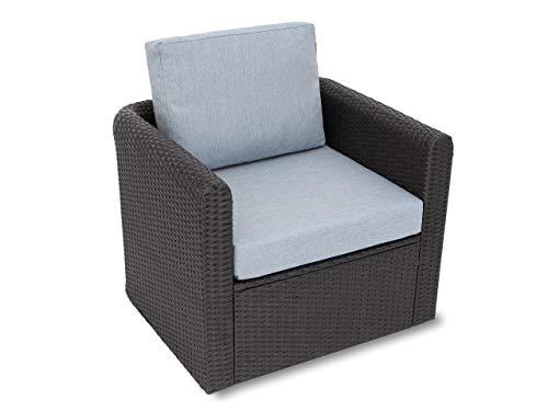 Kissen Set für Rattan / Korbsessel, Rückenlehne Sitz, Sitzkissen Outdoor Sitzpolster Gartenstuhl , Sitzauflage Rattan-Stuhl, 60x55x40 cm - Taubegrau
