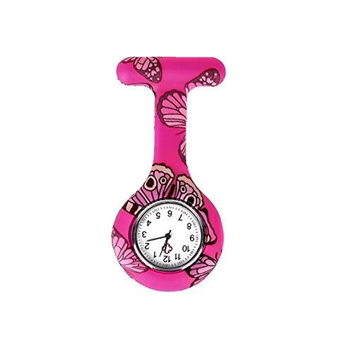 Women T Shape Floral Pocket Durable Watch Analogue Quartz Clock Watch Silicone Pocket Brooch Clip Fob Medical Nurse Watch Valentine's Day Present