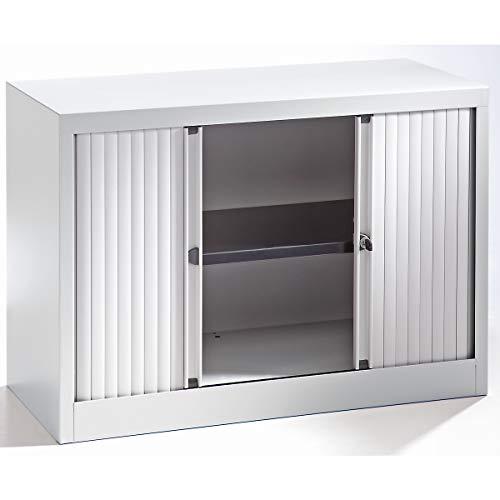 Bisley Rollladenschrank - horizontal, lichtgrau ähnlich RAL 7035 - HxB 695 x 1000 mm, 1 Fachboden - Beistellschrank Büroschrank Sideboard Stahlschrank Aktenschrank Mehrzweckschrank Schrankwand