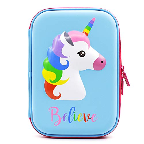 SOOCUTE Cute Unicorn Embossed Hardtop Pencil Case - Kids Large Colored Pen Holder Box with Compartments - Girls Cosmetic Pouch Bag Stationery Organizer (Light Blue)