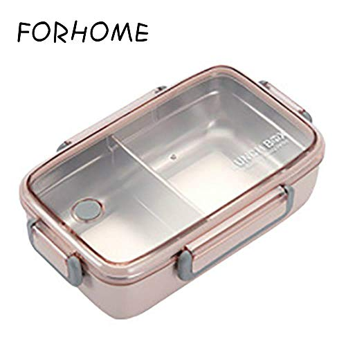FORHOME 304 RVS Lunch Box Bamboe Vezel Isolatie met Vakken Voedsel Container Student Volwassen Leuke Bento Doos roze