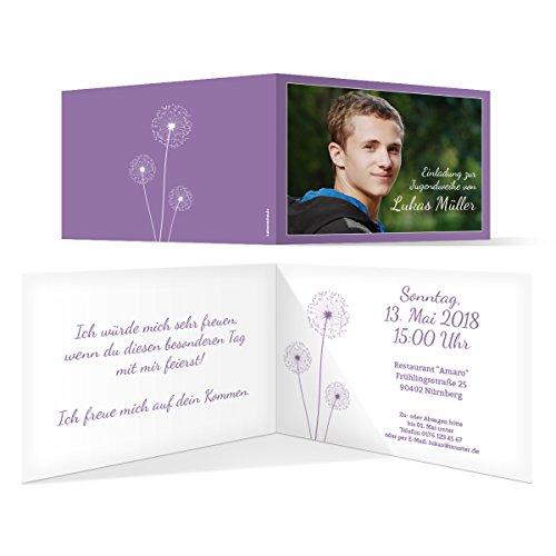 20 x Jugendweihe Einladungskarten Einladungen Jugendfeier - Pusteblume in Lila
