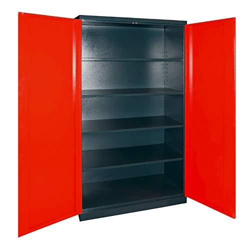 ADB Werkzeugschrank/Aktenschrank/Werkstatt Metallschrank/Hochschrank/Flügeltürenschrank, 2-türig, anthrazit/rot, mit 4 Fach-Böden, 110 x 192 x 38 cm, Made