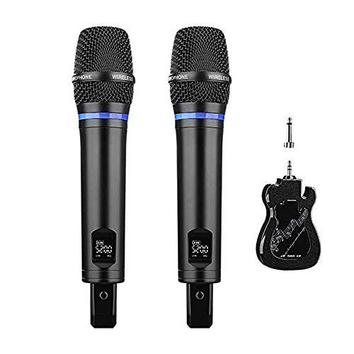Micrófono Inalámbrico, Micrófono karaoke Profesional Recargable Dual Sistema de UHF Dual Portátil con Mini Receptor Bluetooth Recargable para Cantar, Wedding, DJ, Reuniones, Actividades Espectáculos