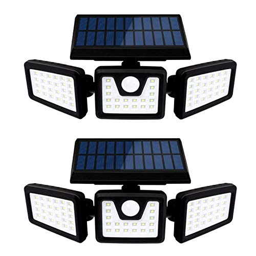 MJJLT Luces Solares De Seguridad 70Leds Sensor De Movimiento Luces con Sensor 360 ° Giratorio IP65 Focos Exteriores Impermeables para Porche Patio Camino De Garaje (2 Piezas)