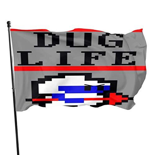 DJNGN Dig Dug Life Tank Top Patio Bandera Terraza Césped Jardín Maceta Balcón Decoración al Aire Libre Bandera