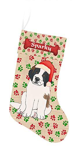 Pet Name Personalized Christmas Paw Print Saint Bernard Dog Stocking
