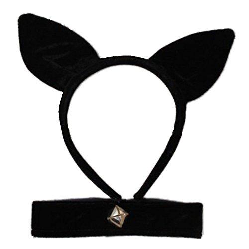 Oreilles de chat en velours noir, collier et clochette Déguisements Party Party Halloween