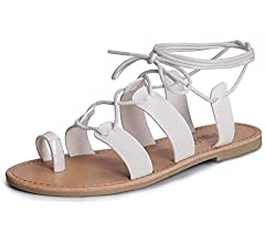 SANDALUP Tie Up Flat Gladiator Roman Sandals for Women Brown
