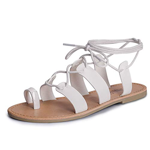 SANDALUP Tie Up Flat Gladiator Sandals White 08