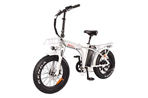 DJ Folding Bike 750W 48V 13Ah Power Electric Bicycle, Pearl White, LED Bike Light, Suspension Fork and Shimano Gear,