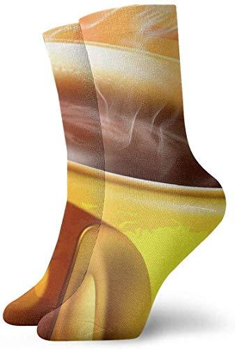 QUEMIN Taza de café amarilla Calcetines deportivos de algodón de ocio Calcetines de compresión clásicos suaves Calcetines deportivos largos para hombres Mujeres Regalo de vacaciones