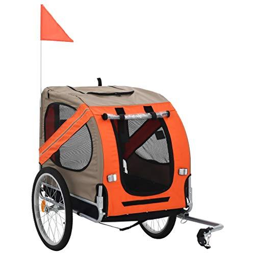 Rimorchio Bic per Cani, 2-in-1 Rimorchio e Carrello Jogging per Bici per Animali, Rimorchio Bicicletta Passeggino Carrello per Il Trasporto per Cani Animali Domestici da Bicicletta, Arancione&Marrone