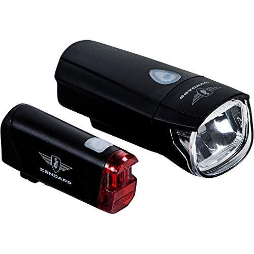 Zündapp Fahrradlicht LED Set ZA.K.50 Fahrradlampe Batterie StVZO Fahrrad Licht (schwarz)