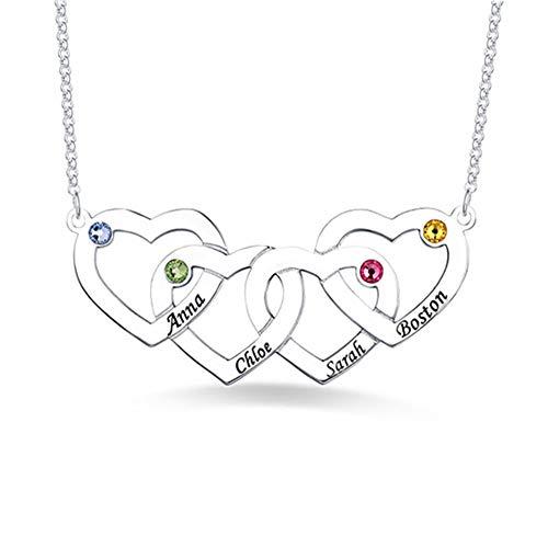 zhaolian888 Personalisierte Herz-Familiennamen-Halskette mit Birthstone - Custom Made Halskette Personalisierte graviert 4 Namen