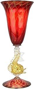 Copa Tipetto bebida, color rojo dorado con pez – Cristal de Murano