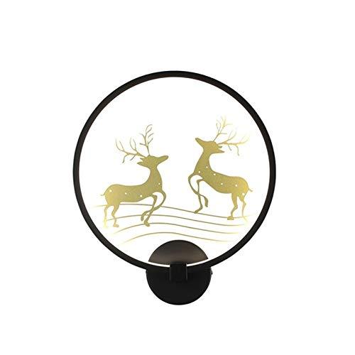 YXLMAONY Moderna lámpara de pared de atenuación de la madrugadora de una sola cabeza LED, creatividad Patrón de ciervo circular Patrón de sala de estar Corredor de la pared decorativa de la lámpara de