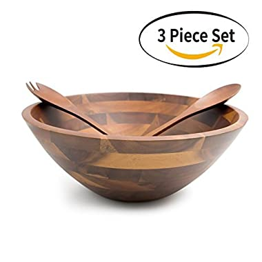 Aidea 12.5 Inch Large Serving Wooden Salad Bowls with Servers Set, Acacia Wood, 3 pieces