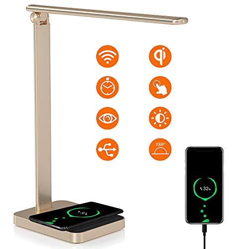 Schreibtischlampe LED Dimmbare Tischleuchte mit Induktiv 10W QI Wireless Charger, USB Tischlampe Arbeiten mit Alexa Googel Home,3 Farb und 6 Helligkeitsstufen Memory Funktion Nachttischlampe